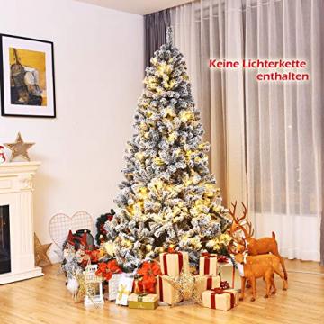 COSTWAY 180/225cm Künstlicher Weihnachtsbaum mit Schnee, Tannenbaum mit Metallständer, Christbaum PVC Nadeln, Kunstbaum Weihnachten Klappsystem ideal für Zuhause, Büro, Geschäfte und Hotels (180cm) - 3