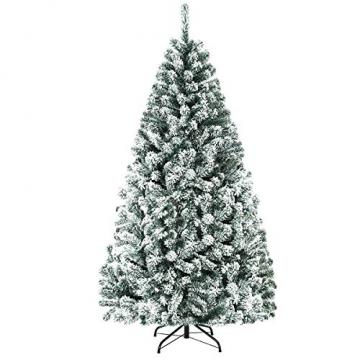 COSTWAY 180/225cm Künstlicher Weihnachtsbaum mit Schnee, Tannenbaum mit Metallständer, Christbaum PVC Nadeln, Kunstbaum Weihnachten Klappsystem ideal für Zuhause, Büro, Geschäfte und Hotels (180cm) - 1
