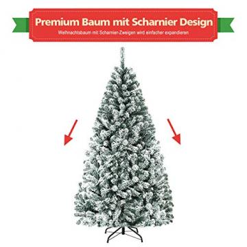 COSTWAY 180/225cm Künstlicher Weihnachtsbaum mit Schnee, Tannenbaum mit Metallständer, Christbaum PVC Nadeln, Kunstbaum Weihnachten Klappsystem ideal für Zuhause, Büro, Geschäfte und Hotels (180cm) - 5