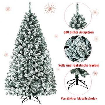 COSTWAY 180/225cm Künstlicher Weihnachtsbaum mit Schnee, Tannenbaum mit Metallständer, Christbaum PVC Nadeln, Kunstbaum Weihnachten Klappsystem ideal für Zuhause, Büro, Geschäfte und Hotels (180cm) - 6