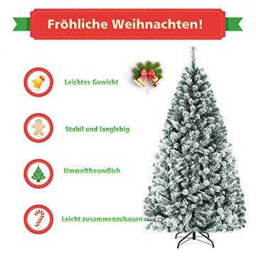 COSTWAY 180/225cm Künstlicher Weihnachtsbaum mit Schnee, Tannenbaum mit Metallständer, Christbaum PVC Nadeln, Kunstbaum Weihnachten Klappsystem ideal für Zuhause, Büro, Geschäfte und Hotels (180cm) - 8