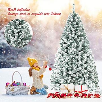 COSTWAY 180/225cm Künstlicher Weihnachtsbaum mit Schnee, Tannenbaum mit Metallständer, Christbaum PVC Nadeln, Kunstbaum Weihnachten Klappsystem ideal für Zuhause, Büro, Geschäfte und Hotels (180cm) - 9
