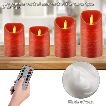 CPROSP 4er LED Kerzen Advent mit Fernbedienung aus Echtwachs, Flammenlose Rote Kerzen mit Timer, 7,5 x 9/10,5/12,5/15,5 cm, Deko für Hochzeit, Party, Weihnachten, Advent (2*AA, Erhhalten nicht) - 3