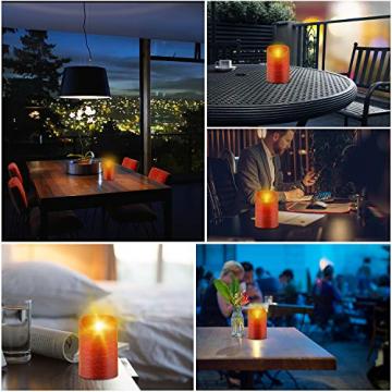 CPROSP 4er LED Kerzen Advent mit Fernbedienung aus Echtwachs, Flammenlose Rote Kerzen mit Timer, 7,5 x 9/10,5/12,5/15,5 cm, Deko für Hochzeit, Party, Weihnachten, Advent (2*AA, Erhhalten nicht) - 6