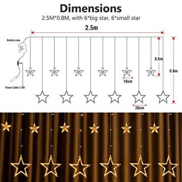 DazSpirit LED Lichtervorhang Weihnachten Sterne 2,5m mit 20 Haken und Fernbedienung, USB oder Batteriebetrieben, 8 Modi, Premium-Geschenkbox, Wasserdicht, Drinnen und Draußen (Warmweiß) - 2