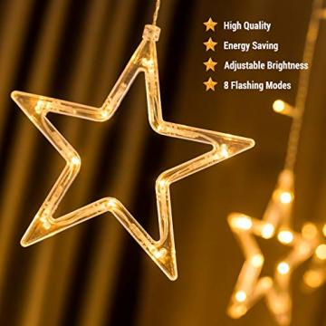 DazSpirit LED Lichtervorhang Weihnachten Sterne 2,5m mit 20 Haken und Fernbedienung, USB oder Batteriebetrieben, 8 Modi, Premium-Geschenkbox, Wasserdicht, Drinnen und Draußen (Warmweiß) - 3