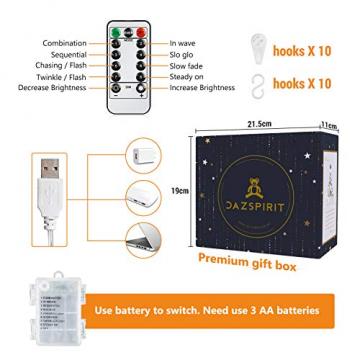 DazSpirit LED Lichtervorhang Weihnachten Sterne 2,5m mit 20 Haken und Fernbedienung, USB oder Batteriebetrieben, 8 Modi, Premium-Geschenkbox, Wasserdicht, Drinnen und Draußen (Warmweiß) - 5