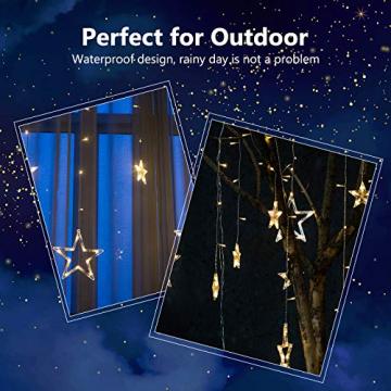 DazSpirit LED Lichtervorhang Weihnachten Sterne 2,5m mit 20 Haken und Fernbedienung, USB oder Batteriebetrieben, 8 Modi, Premium-Geschenkbox, Wasserdicht, Drinnen und Draußen (Warmweiß) - 6