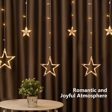 DazSpirit LED Lichtervorhang Weihnachten Sterne 2,5m mit 20 Haken und Fernbedienung, USB oder Batteriebetrieben, 8 Modi, Premium-Geschenkbox, Wasserdicht, Drinnen und Draußen (Warmweiß) - 7