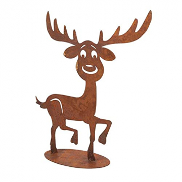 DbKW (Rentier Deko-Figur) Weihnachtliche Dekoration aus Holz und rostigem Metall, Aufsteller Schneemann, Gesteck mit Windlicht, Engel, Rentier. - 1