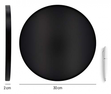D&D Living Deko Tablett Rund Ø 30 cm   Design Dekoteller und Dekotablett aus Metall (Schwarz matt) - 2