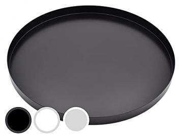 D&D Living Deko Tablett Rund Ø 30 cm   Design Dekoteller und Dekotablett aus Metall (Schwarz matt) - 1