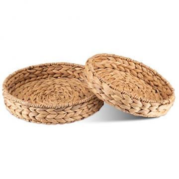Decorasian Tablett rund geflochten aus Seegras - Wasserhyazinthe - Set 32cm + 28cm Durchmesser - Obstschale - 1