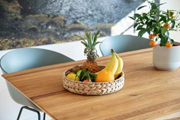 Decorasian Tablett rund geflochten aus Seegras - Wasserhyazinthe - Set 32cm + 28cm Durchmesser - Obstschale - 5