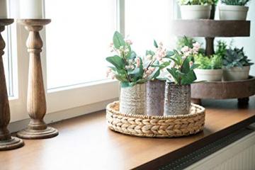 Decorasian Tablett rund geflochten aus Seegras - Wasserhyazinthe - Set 32cm + 28cm Durchmesser - Obstschale - 7