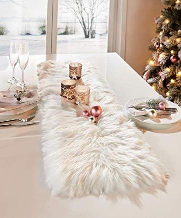 Dekoleidenschaft Tischläufer aus Kunstfell in Creme/weiß, 30 x 120 cm, Tischband, Mitteldecke - 5