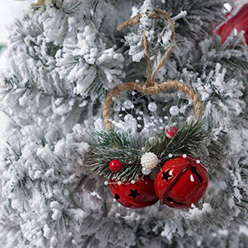 Dioxide 4 Stück Christbaumschmuck Metall Glöckchen rot weiß 1 Stück Weihnachtsbaumdekoration fünfzackiger Stern, Weihnachtsbaum-Dekoration, Hängeornament, Dekoration für Zuhause, Party - 2