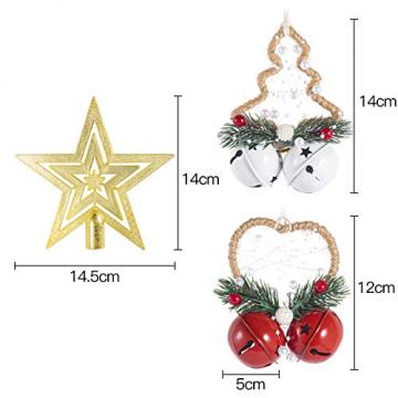 Dioxide 4 Stück Christbaumschmuck Metall Glöckchen rot weiß 1 Stück Weihnachtsbaumdekoration fünfzackiger Stern, Weihnachtsbaum-Dekoration, Hängeornament, Dekoration für Zuhause, Party - 3