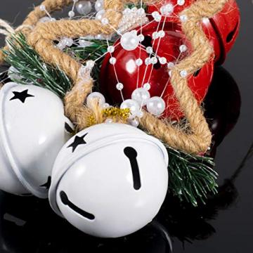 Dioxide 4 Stück Christbaumschmuck Metall Glöckchen rot weiß 1 Stück Weihnachtsbaumdekoration fünfzackiger Stern, Weihnachtsbaum-Dekoration, Hängeornament, Dekoration für Zuhause, Party - 4