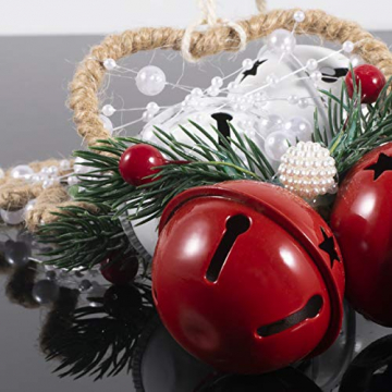Dioxide 4 Stück Christbaumschmuck Metall Glöckchen rot weiß 1 Stück Weihnachtsbaumdekoration fünfzackiger Stern, Weihnachtsbaum-Dekoration, Hängeornament, Dekoration für Zuhause, Party - 5