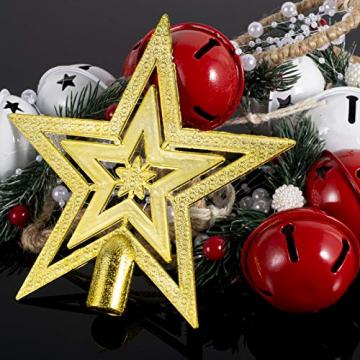 Dioxide 4 Stück Christbaumschmuck Metall Glöckchen rot weiß 1 Stück Weihnachtsbaumdekoration fünfzackiger Stern, Weihnachtsbaum-Dekoration, Hängeornament, Dekoration für Zuhause, Party - 6