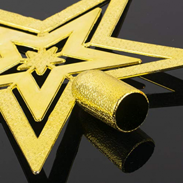 Dioxide 4 Stück Christbaumschmuck Metall Glöckchen rot weiß 1 Stück Weihnachtsbaumdekoration fünfzackiger Stern, Weihnachtsbaum-Dekoration, Hängeornament, Dekoration für Zuhause, Party - 7