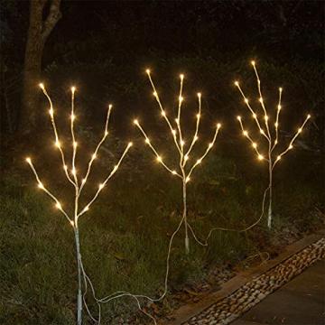 EAMBRITE 3er Set Lichterbaum 60LEDs Wasserdichte Lichterzweige 76CM Warmweißes Zweiglicht rein Weiß Außen-Innen Wohnug deko für Weihnachten Ostern Halloween - 4