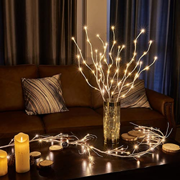 EAMBRITE 3er Set Lichterbaum 60LEDs Wasserdichte Lichterzweige 76CM Warmweißes Zweiglicht rein Weiß Außen-Innen Wohnug deko für Weihnachten Ostern Halloween - 1