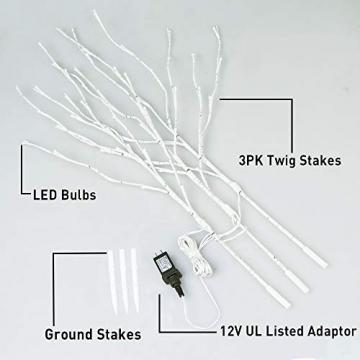 EAMBRITE 3er Set Lichterbaum 60LEDs Wasserdichte Lichterzweige 76CM Warmweißes Zweiglicht rein Weiß Außen-Innen Wohnug deko für Weihnachten Ostern Halloween - 5