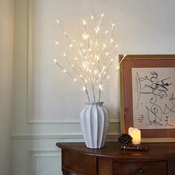 EAMBRITE 3er Set Lichterbaum 60LEDs Wasserdichte Lichterzweige 76CM Warmweißes Zweiglicht rein Weiß Außen-Innen Wohnug deko für Weihnachten Ostern Halloween - 7