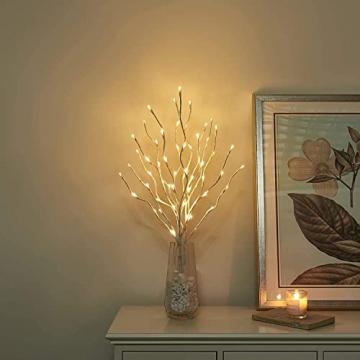 EAMBRITE 3er Set Lichterbaum 60LEDs Wasserdichte Lichterzweige 76CM Warmweißes Zweiglicht rein Weiß Außen-Innen Wohnug deko für Weihnachten Ostern Halloween - 8