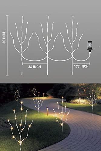 EAMBRITE 3er Set Lichterbaum 60LEDs Wasserdichte Lichterzweige 76CM Warmweißes Zweiglicht rein Weiß Außen-Innen Wohnug deko für Weihnachten Ostern Halloween - 9