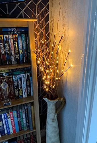 EAMBRITE 3er Set Lichterbaum Aussen Innen 60LEDs Wasserdichte Lichterzweige 76CM Warmweißes Zweiglicht Braun mit Netzstrom Betriebene LED Lampe Zweige Dekoration für Weihnachten Ostern Halloween - 6