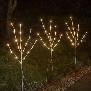 EAMBRITE Wohnung dekorative Zweig Lichter beleuchtet weiße Birke Zweige Weg Pfähle mit 60 LED Lichter Außen-Innen Wohnug deko für Weihnachten Ostern Halloween Fest - 2