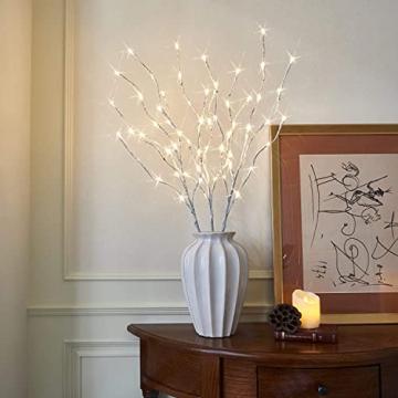 EAMBRITE Wohnung dekorative Zweig Lichter beleuchtet weiße Birke Zweige Weg Pfähle mit 60 LED Lichter Außen-Innen Wohnug deko für Weihnachten Ostern Halloween Fest - 1