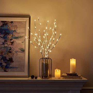 EAMBRITE Wohnung dekorative Zweig Lichter beleuchtet weiße Birke Zweige Weg Pfähle mit 60 LED Lichter Außen-Innen Wohnug deko für Weihnachten Ostern Halloween Fest - 5