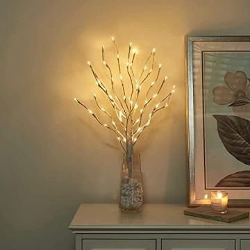 EAMBRITE Wohnung dekorative Zweig Lichter beleuchtet weiße Birke Zweige Weg Pfähle mit 60 LED Lichter Außen-Innen Wohnug deko für Weihnachten Ostern Halloween Fest - 6