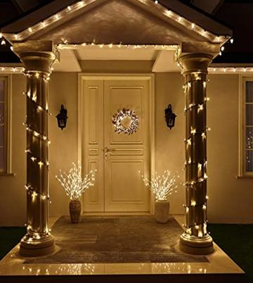 EAMBRITE Wohnung dekorative Zweig Lichter beleuchtet weiße Birke Zweige Weg Pfähle mit 60 LED Lichter Außen-Innen Wohnug deko für Weihnachten Ostern Halloween Fest - 7