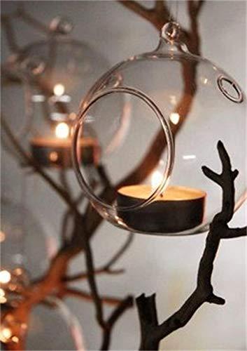 Ecosides 8cm 12 Hängenden Glaskugeln mit Loch,Hängend Teelichthalter aus Glas Kerzenhalter Windlichter Kristalle Terrarium Vase Sukkulenten Luftpflanzen Halter Hänge Deko für Hochzeit Garten - 6