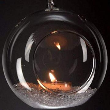 Ecosides 8cm 12 Hängenden Glaskugeln mit Loch,Hängend Teelichthalter aus Glas Kerzenhalter Windlichter Kristalle Terrarium Vase Sukkulenten Luftpflanzen Halter Hänge Deko für Hochzeit Garten - 7