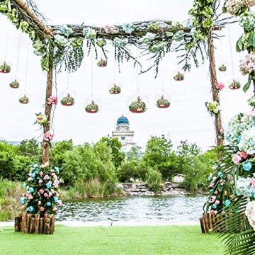 Ecosides 8cm 12 Hängenden Glaskugeln mit Loch,Hängend Teelichthalter aus Glas Kerzenhalter Windlichter Kristalle Terrarium Vase Sukkulenten Luftpflanzen Halter Hänge Deko für Hochzeit Garten - 9