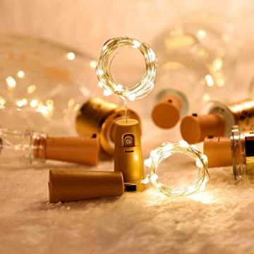 Ehome Flaschenlicht 2M/12x 20 LED Flaschen-Licht Lichterkette flaschenlichterkette korken LED Nacht Licht Weinflasche Hochzeit Party romantische Deko (warm) - 5