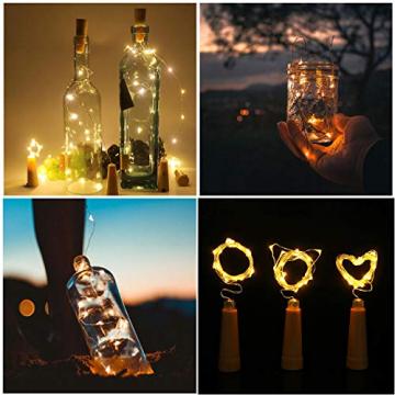 Ehome Flaschenlicht 2M/12x 20 LED Flaschen-Licht Lichterkette flaschenlichterkette korken LED Nacht Licht Weinflasche Hochzeit Party romantische Deko (warm) - 6