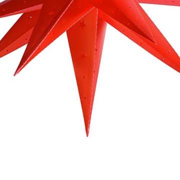 ETiME Adventsstern Weihnachtsstern Stern 3D Kunststoff Außenstern Lampe Fensterstern Deko Rot (Rot + Wasserdicht Kabel und Leuchtmittel) - 3