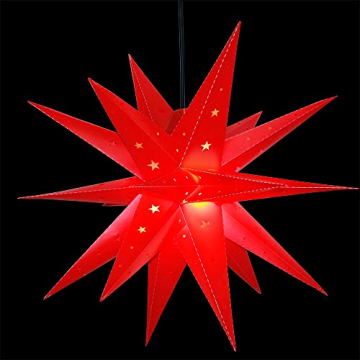 ETiME Adventsstern Weihnachtsstern Stern 3D Kunststoff Außenstern Lampe Fensterstern Deko Rot (Rot + Wasserdicht Kabel und Leuchtmittel) - 4