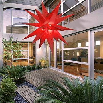 ETiME Adventsstern Weihnachtsstern Stern 3D Kunststoff Außenstern Lampe Fensterstern Deko Rot (Rot + Wasserdicht Kabel und Leuchtmittel) - 5