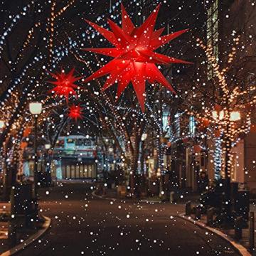 ETiME Adventsstern Weihnachtsstern Stern 3D Kunststoff Außenstern Lampe Fensterstern Deko Rot (Rot + Wasserdicht Kabel und Leuchtmittel) - 6