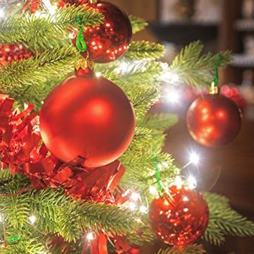 FairyTrees Weihnachtsbaum künstlich BAYERISCHE Tanne Premium, Material Mix aus Spritzguss & PVC, inkl. Holzständer, 180cm, FT23-180 - 4