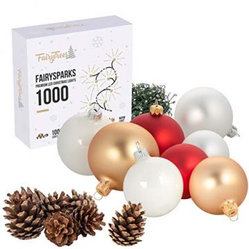 FairyTrees Weihnachtsbaum künstlich BAYERISCHE Tanne Premium, Material Mix aus Spritzguss & PVC, inkl. Holzständer, 180cm, FT23-180 - 8