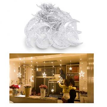 Fangteke LED Lichterketten 3.5M Stern Mond Vorhang Lichter LED Girlande Dekorative Lampe für Hochzeit Hausgarten Weihnachten Fenster Vorhang Dekoration - 3